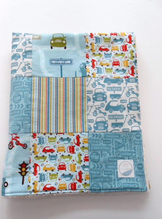 Minky Baby Boy Patchwork Quilt Blanket Riley by KristensCoverlets, $50.00