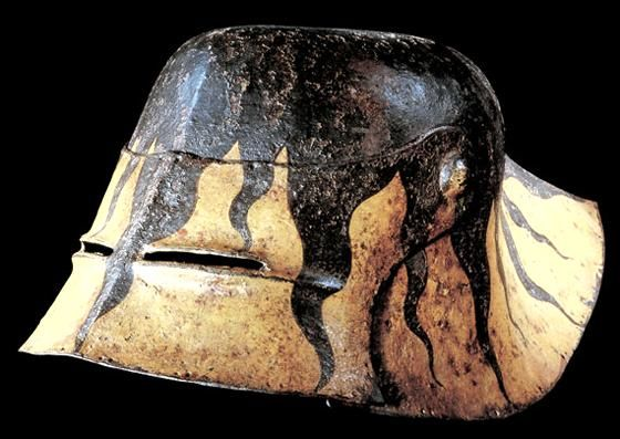 "Typical German ""black"" sallet. Thankfully with its original finish, and not polished up by the Victorians...."
