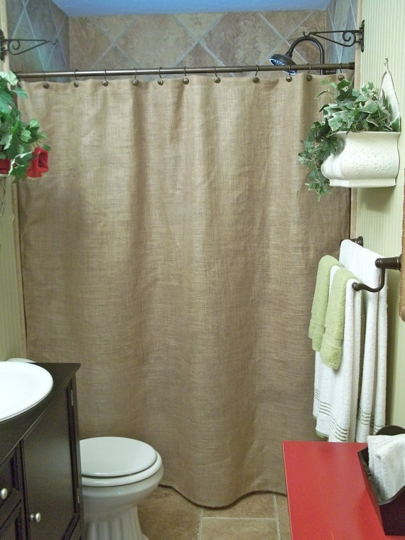 Burlap Shower Curtain - Rustic - Country - French Chic $45