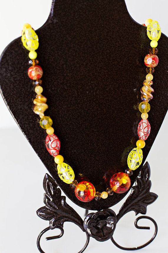 Orange & Yellow Long Necklace Handmade OOAK by JeniandPatsBeadHive