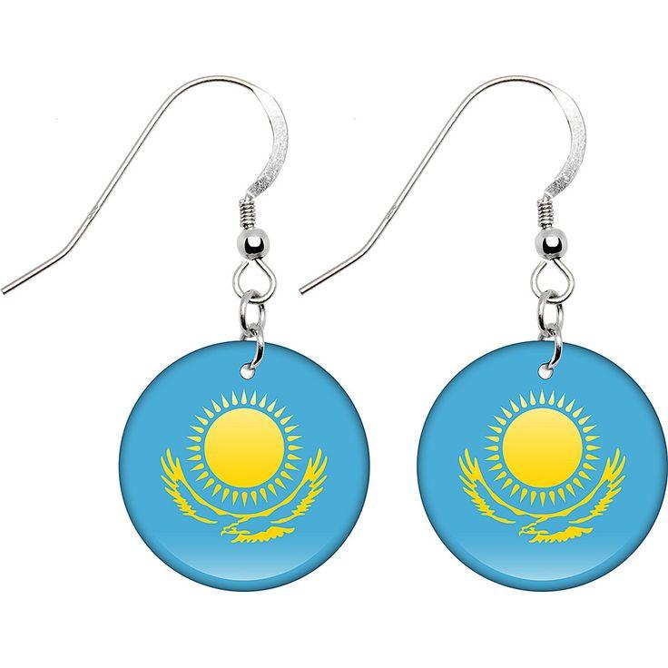 Kazakhstan Flag Earrings