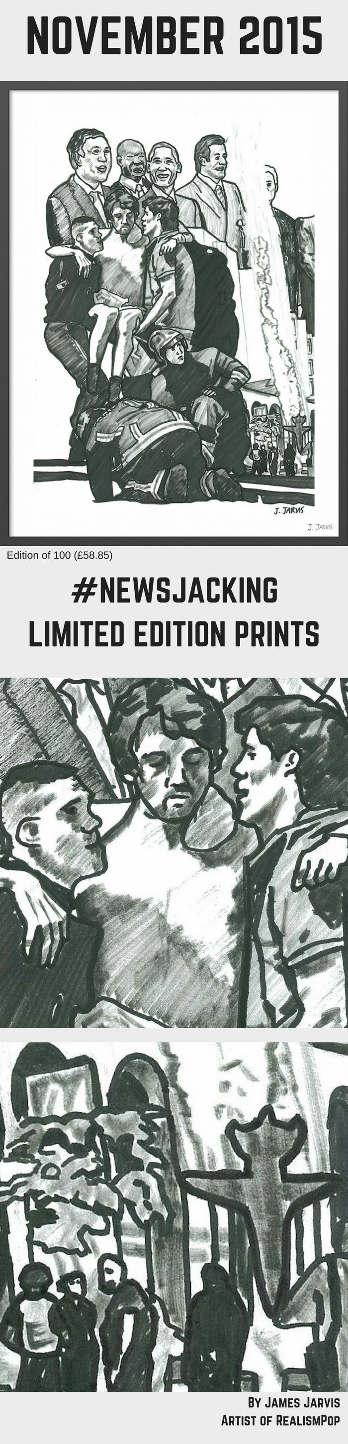 November 2015 (£58.85). Limited edition print. Black and white illustration featuring a monthly collage of breaking news stories; Three coordinated attacks by ISIS kill dozens in Paris; At least 27 are killed at the Radisson Blu hotel in Bamako, Mali; Russian warplane is shot down in Turkey; Several world leaders gather for historic U.N. climate talks.