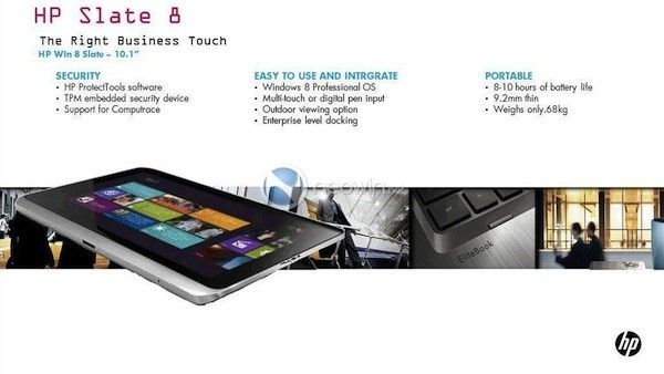 Business-minded HP 'Slate 8' tablet surfaces in leaked image