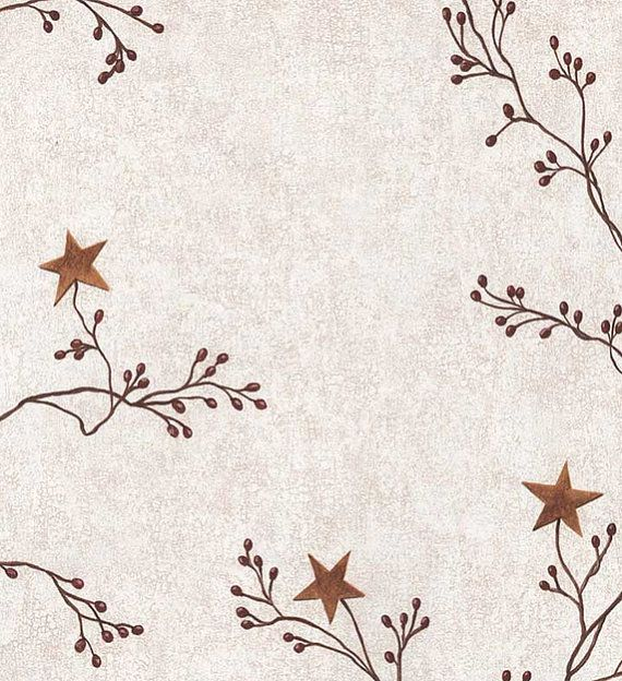 Primitive Wallpaper  Rustic Vine and Berry with Gold Barn