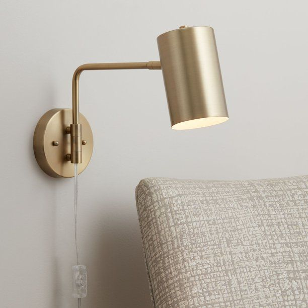 360 Lighting Modern Swing Arm Wall Lamp Brushed Brass Plug In Light Fixture Cylinder Down Shade F In 2020 Swing Arm Wall Lamps Wall Sconces Bedroom Plug In Wall Lights