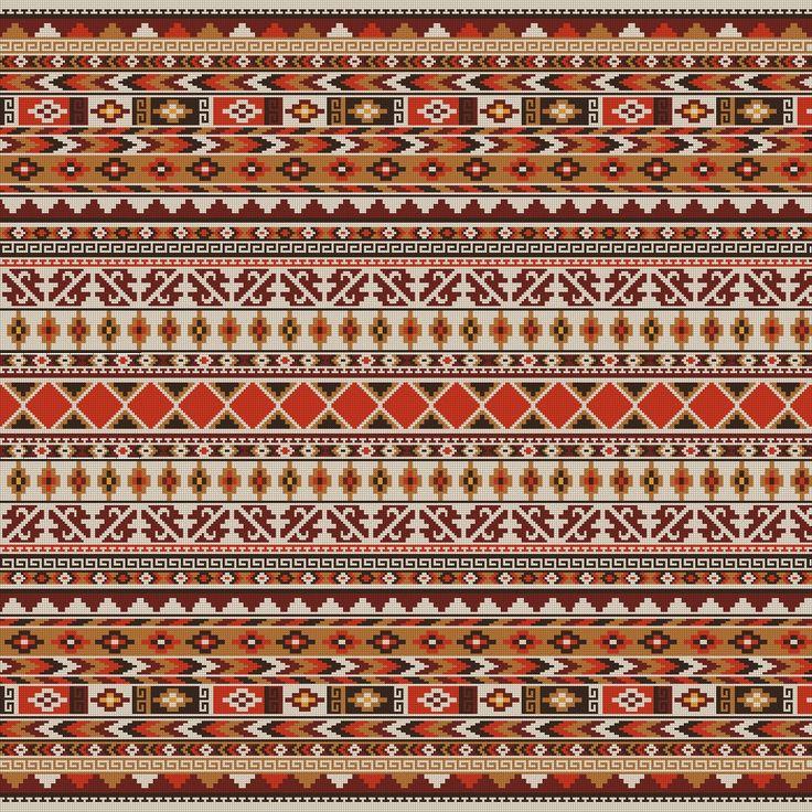 PATRON PUNTO CRUZ   (Foto del Bordado Virtual)   Alfombra Grecas   Para bordar en Lanas   350 Puntos de Ancho   350 Puntos de Alto   Utiliza 6 Colores