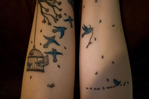 Wendy's Bird Cage & Flying Birds Tattoos • Made Mistakes