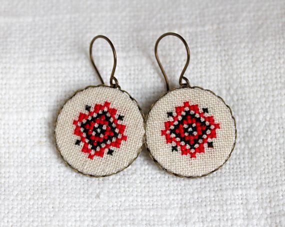 Etnico ucraino Orecchini  Orecchini punto croce  e028 di skrynka