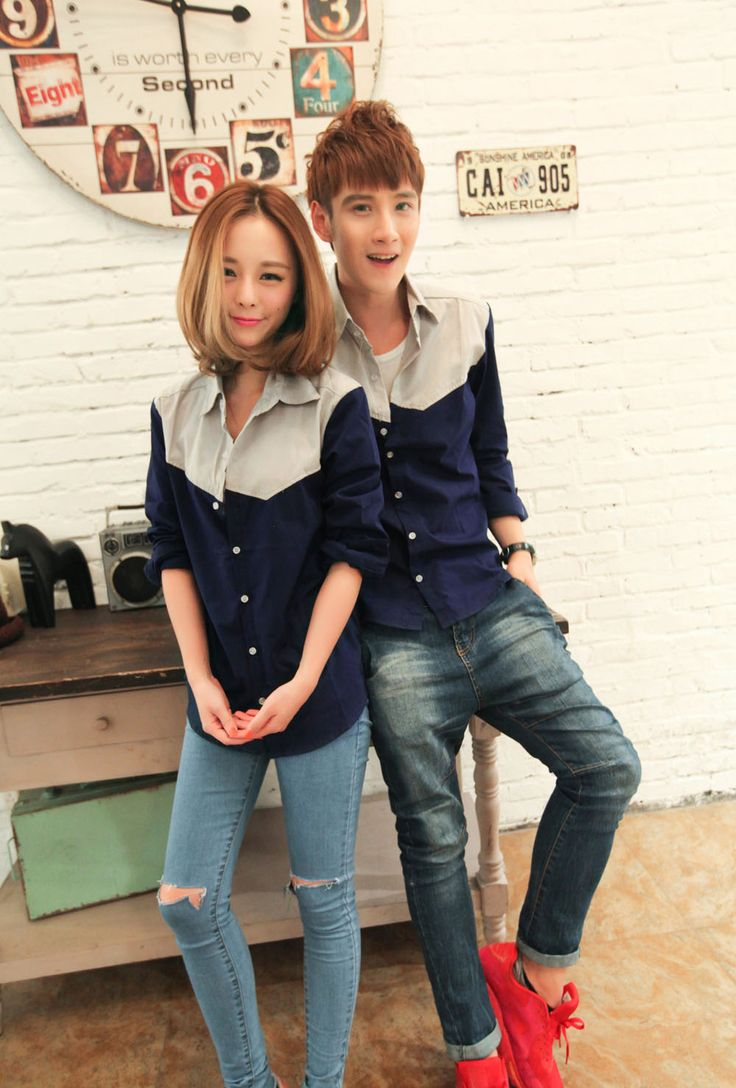 Exquisite Quality Super Great Couple Shirt With Single-Breasted Button And Turn Collar Decoration
