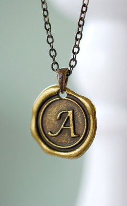 Wax Seal Necklace. Personalized Initial Necklace