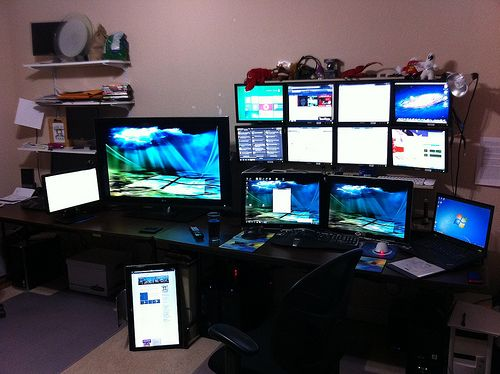 Monitor Play. Home office ideas for multi monitors.