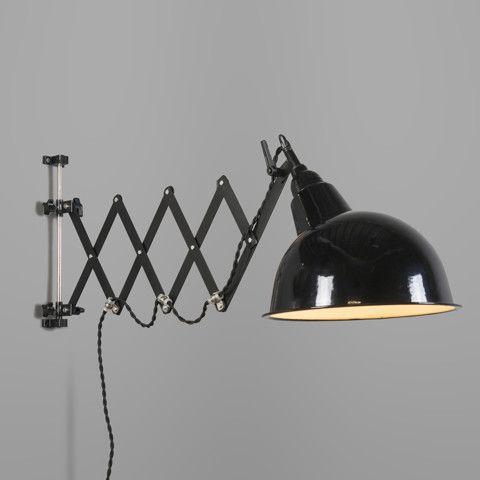 Wandlamp Stretch zwart met harmonica ophanging #qazqa #industrieel…
