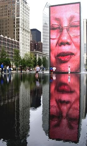 Crown Fountain (Chicago) we went there in november and there wasnt any water to splash in how sad @Emiley Koehn