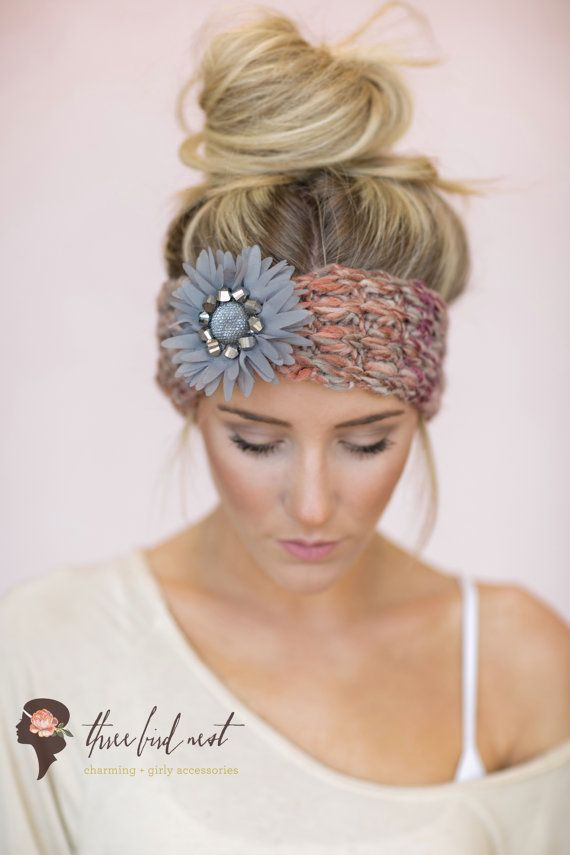 Boho Knitted Headband CUTE Hair Bands Knit Turban by ThreeBirdNest, $38.00