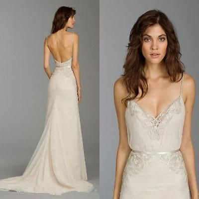 Spaghetti Strap Sexy Backless Mermaid Applique Bridal Gown Beach Wedding Dress
