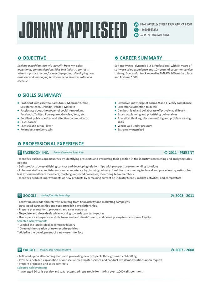 Resume Template, Johnny Appleseed Modern Resume Template With - sample sales resume objective