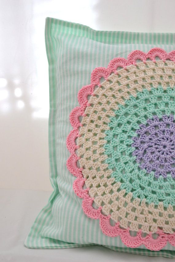 Pillow case with a crochet applique by PinkStylette on Etsy, $25.00