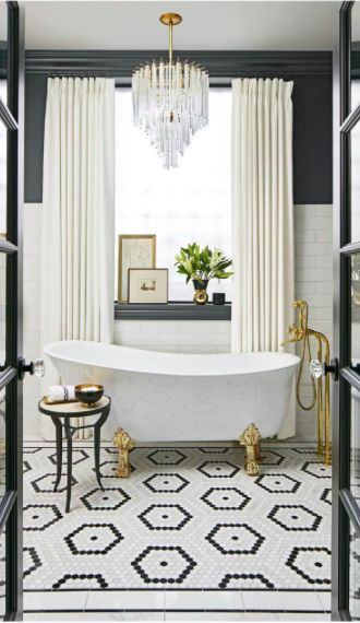Oh haiiiiiii. I mean who DOESN'T want a tub and a chandelier?!