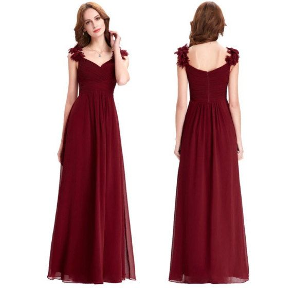 Alluring Romantic Deep Maroon Tulle Bridesmaid Dress with Shoulder Floral Detailing