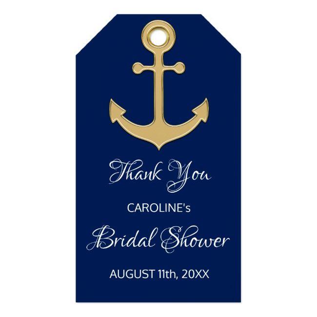 Thank You Nautical Navy Blue Anchor Bridal Shower Gift Tags Nauticalwedding Partsupllies Wedding Anchor Bridal Shower Anchor Wedding Gifts Wedding Gift Tags