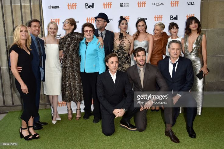 Elisabeth Shue, Steve Carell, Emma Stone, Valerie Faris, Billie Jean King, Jonathan Dayton, Sarah Silverman, Andrea Riseborough, Martha MacIsaac and Natalie Morales. (Bottom L-R)Alan Cumming, Austin Stowell and Bill Pullman attend the 'Battle of the Sexes' premiere during the 2017 Toronto International Film Festival at Ryerson Theatre on September 10, 2017 in Toronto, Canada.