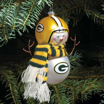 Green Bay Packers Snowman Ornament with Scarf  $12.95  (I need this for my tree!)