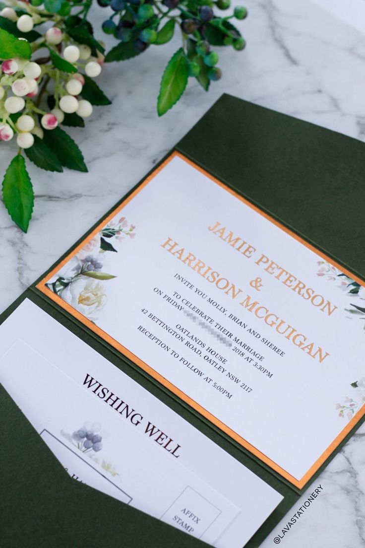 The Harrison invitation is paired with a