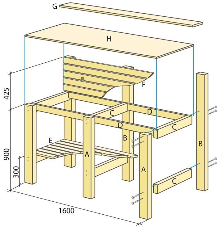 platsbyggd bänk ritning ~ ritning på utekök  villan  pinterest