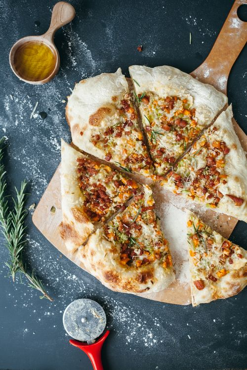 CANNELLINI AND SOFFRITTO PIZZA WITH PANCETTA AND PARMESAN