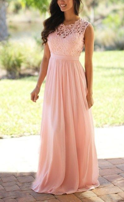 2016 Custom Long Chiffon Bridesmaid Dress Sleeveless Pink Lace See Through