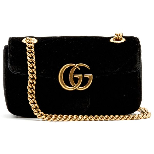 Gucci GG Marmont mini quilted-velvet cross-body bag ($1,290) ❤ liked on Polyvore featuring bags, handbags, shoulder bags, quilted handbags, quilted crossbody purse, crossbody purses, gucci crossbody and gucci purse
