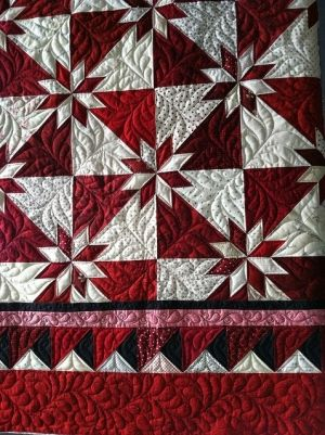 Red and white Hunter Star quilt