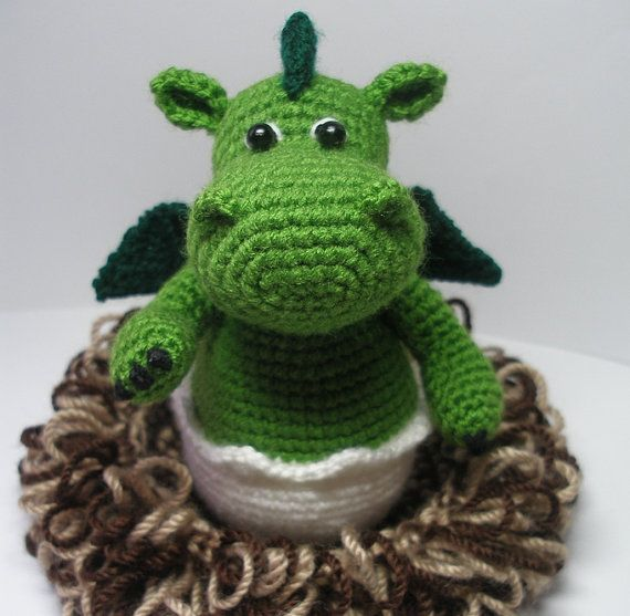 Baby Dragon in its Nest - pdf Crochet Pattern -NEW