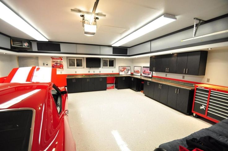 Modern elegant garage interior design with organizers ideas on the wall and white tile flooring as well white paint wall decor also lighting ceiling also black cabinet