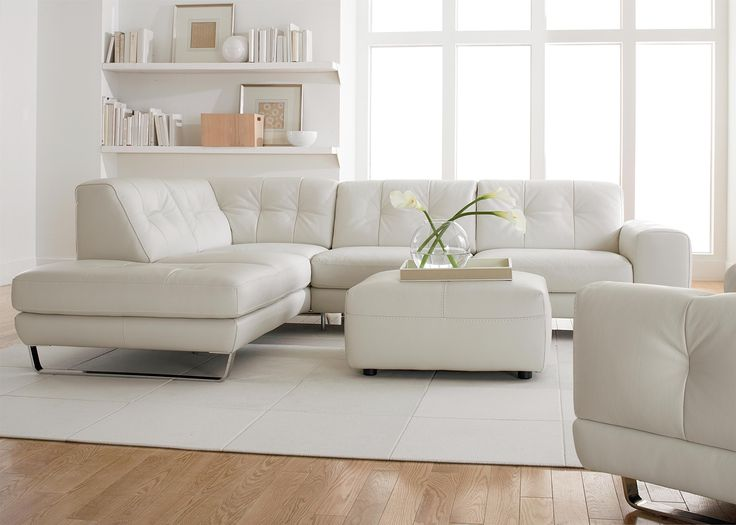 Natuzzi Editions Contemporary Tufted Leather Sectional With Ottoman Chaise