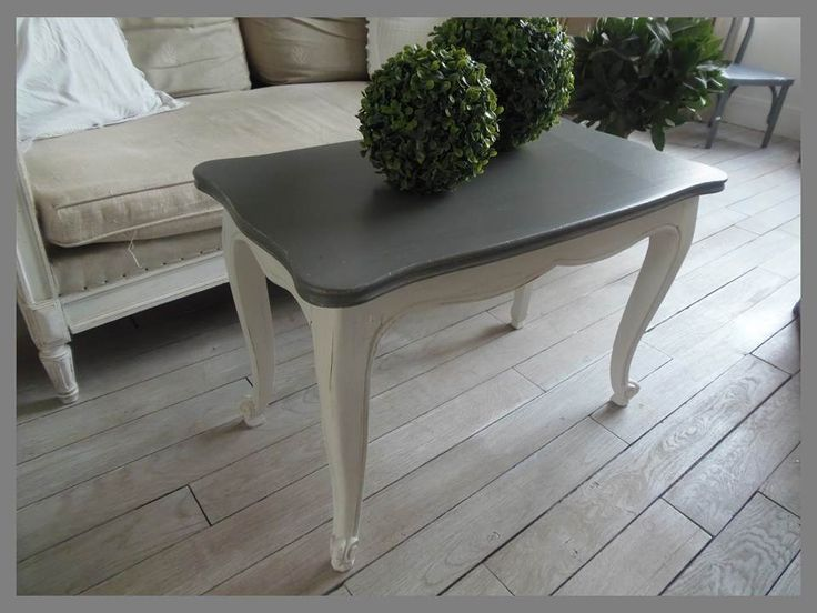 Table basse en merisier atelierdes4saisons patin e gris - Meuble repeint en gris perle ...