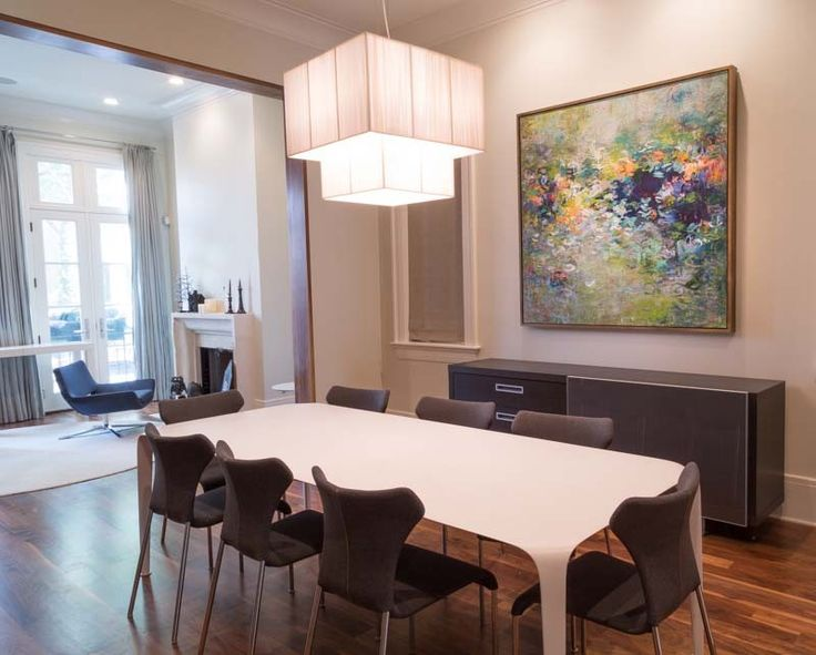 Original Abstract Painting Installed In This Dining Room Interior Design Art Chicago