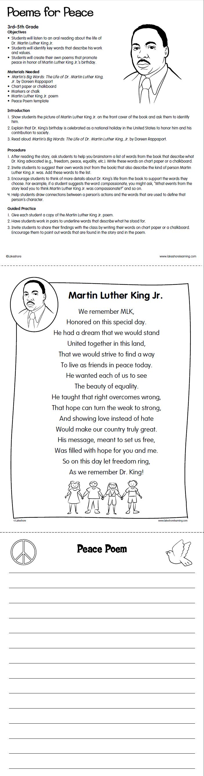 Get Ready For Grade With Lakeshores FREE Poems Peace Printable Find This Pin And More On Martin Luther King Day