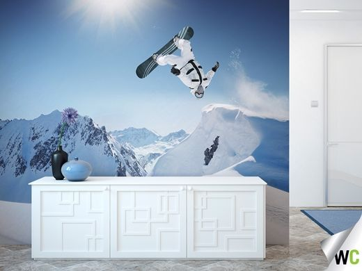 Wall mural of a snowboarder in action