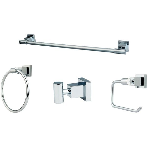 4-piece Polished Chrome Bathroom Accessory Set
