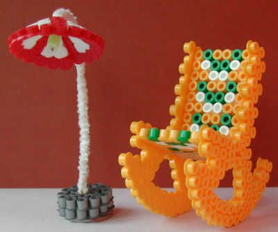 Rocking chair and standing lamp Nabbi beads by Emos Pärlkonst