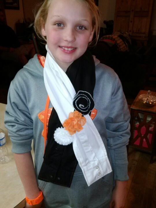 This is a scarf that my daughter made for a 4 - H projects. It is made from the sleeves off of a men's dress shirt!