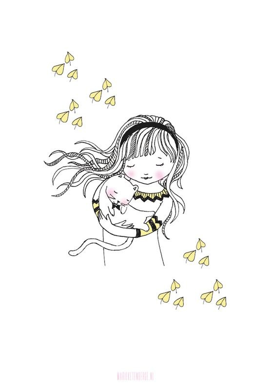 Marieke ten Berge 'A4 Poster Girl with Cat'