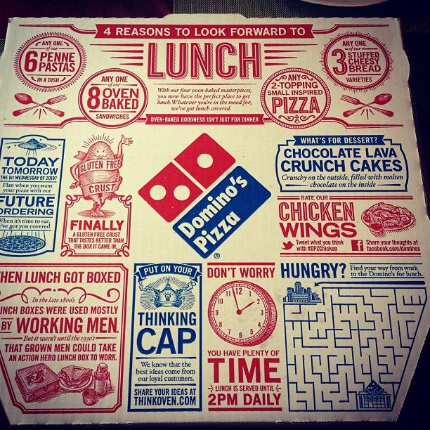 The new Domino's pizza box    They advertise well. :) I am a dominos fan.