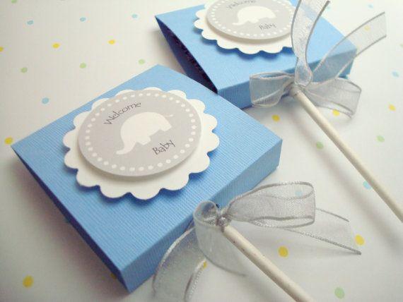 Blue and Gray Elephant Lollipop Favors, Baby Boy, Set of Ten