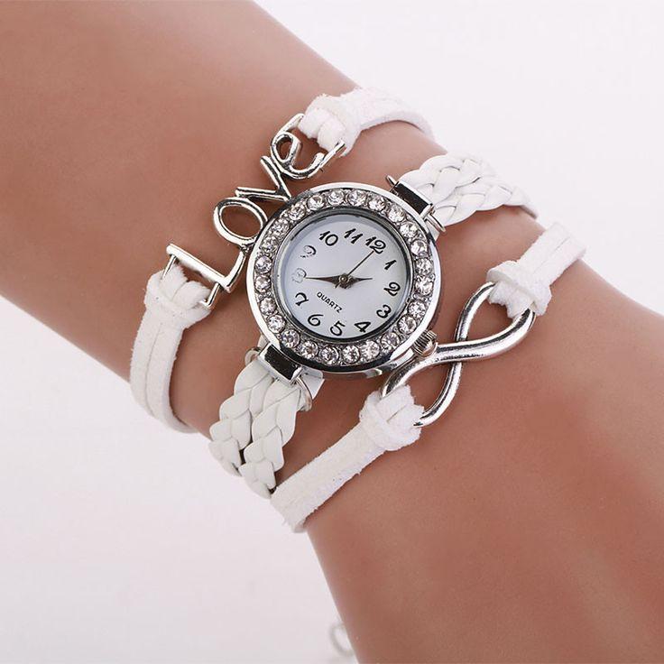 Brand new Wristwatch Fashion Women Infinity Love Hand-knitted Faux Leather Chain Quartz Watch Bracelet Watches dress Gift 1pcs