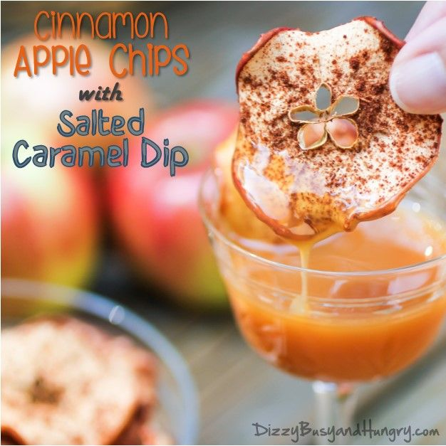Cinnamon Apple Chips with Salted Caramel Dip - Cinnamon-y, sweet, and crispy, these apple chips pair perfectly with a salted caramel dip for an amazing fall snack!