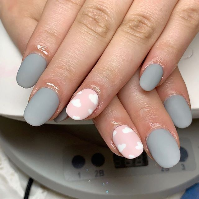 New The 10 Best Nail Ideas Today With Pictures Matte Gray Happy Pink White Clouds Pink Nails Short Acrylic Nails Cute Acrylic Nails