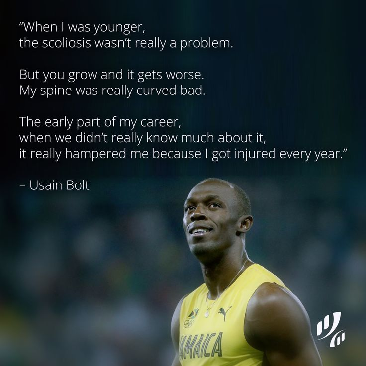 """When I was younger, the scoliosis wasn't really a problem. But you grow and it gets worse. My #spine was really curved bad. The early part of my career, when we didn't really know much about it, it really hampered me because I got injured every year."" – Usain Bolt  #quote #wellness #chiropractic #physiotherapy #massage"