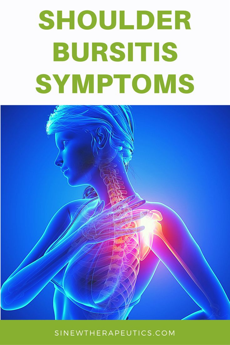 Common symptoms of shoulder bursitis are swelling, redness, pain, stiffness and weakness. Get fast pain relief and recovery by following our treatment guide based on if you have acute or chronic stage symptoms.